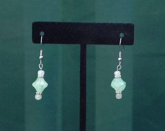 Handcrafted Jewelry Green Sea Foam Glass Bead Dangle, Pierced Earrings, one pair