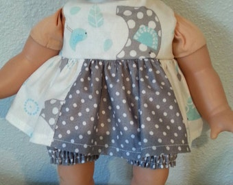 Handmade Cotton Doll Dress and panties fits 12-14 inch dolls