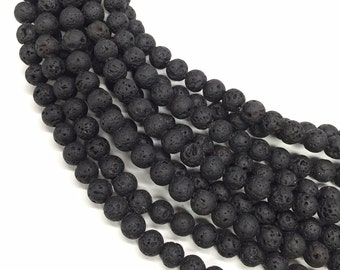 6mm Black Lava Beads 16 Inch Strand, Approx 70 beads