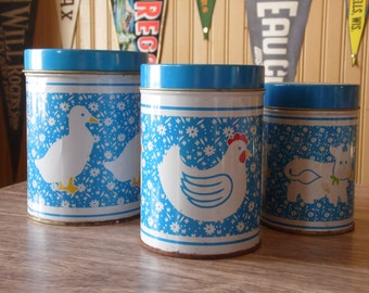 Canisters/Country Decor/Chicken/Duck/Cow/Blue/Vintage/Canister Set/Tin Canister/Metal/1980's/Jars/Storage
