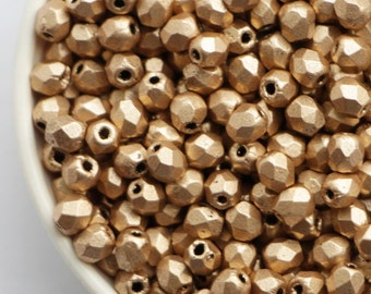 3mm Matte Metallic Flax Gold (50pcs) Czech Fire Polished Glass Beads Frosted Polish Faceted Round
