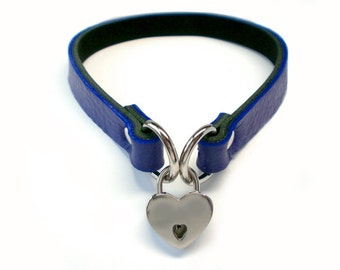"Blue 1/2"" Leather BDSM Lockable slave sub Collar with small heart shaped padlock /locking sub choker"