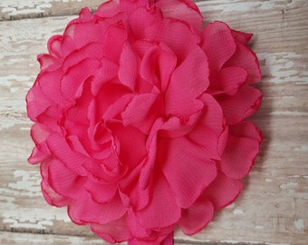 Shocking pink flowers headband