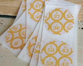 12 Vintage Style Bingo Marker Stickers / Seals /  Cottage Chic