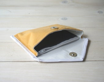 Recycled eco friendly wallet yellow Handmade Upcycled Repurposed Purse