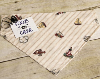 Vintage Nautical Dog Bandana, Slide Over the Collar Dog Bandana, Lighthouse, Sailboat, Pet Scarf, Focus for a Cause