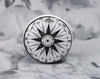 "1-1/4"" Compass Dresser Knobs - Mariner's Compass Knobs -  Black and White Compass"