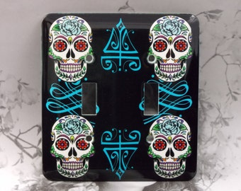 Metal Sugar Skull Double Toggle Light Switch Cover - Day of the Dead - Sugar Skull Light Switch Covers