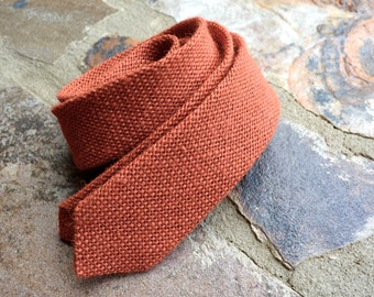 Burlap necktie,orange burlap necktie,mens burlap tie,burnt orange,natural burlap tie,burlap ties