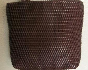 Vintage Evan Picone BASKET WEAVE Leather Shoulder Bag BROWN Excellent