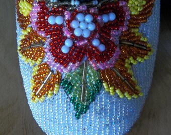 Stunning BEADED Slippers Colorful Floral LARGE Size Vintage Glamour