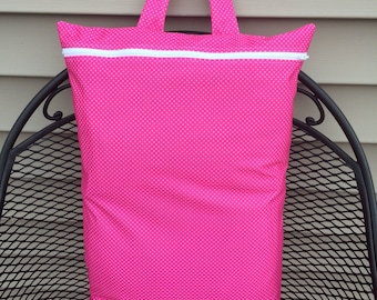 Wet bag-Hanging Wet bag Extra large- Pink with white dots
