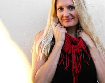 Deep red shredded infinity scarf, lightweight shredded red knit fabric cowl, funky neckwear, super soft recycled tee scarf, gift for her