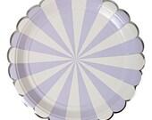 "Lavender Striped Small Paper Plates (Set of 8) - 7"" Meri Meri Toot Sweet Light Purple Dessert Plates Plates"