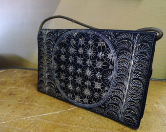 Black velvet handbag with metallic embroidery [MV}