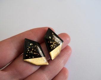 Large Black with 23k Gold and Glitter Stud Earrings