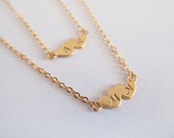 Gold Hearts Personalized Necklace - Everyday Jewelry - Gift for Her