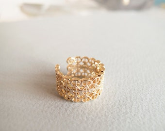 Wide Gold Filigree Ring - Gift for her