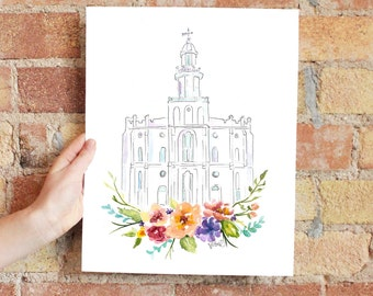LDS Temple watercolor (St. George)