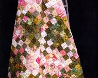 Madison Cottage  Rhubarb Pie Pink and Green Batik Quilt Pattern