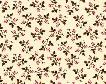RJR Chocolate & Bubble Gum Cream Pink Brown Floral Civil War Fabric 2718-002 BTY