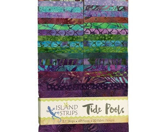 "Island Batik Tide Pool  Blue Green Purple Batiks Jelly Roll Strips Pack 40 2.5"" Strips of Fabric"