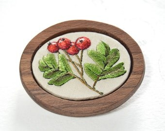 Hand embroidered silk hawthorn brooch