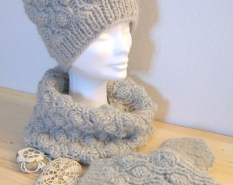 Chunky  set -cowl scarf- wool hat -wool  scarf - wool cowl - mittens - gloves - scarves collar -bolero