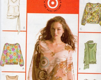 McCall's 6 Great Looks Pattern 4514 TOPS & SCARF Misses 6 8 10 12