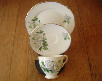 3 Piece Set, Royal Stafford Camellia Bone China, Made in England, Cup, Saucer and Side Plate Trio, Vintage 1960's