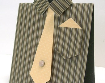 Male dress shirt greeting card, Unique masculine any occasion card, Brown stripes, Butterscotch accents, Men, Guys, Dads, Bros, Uncles