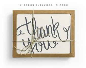 Thank You Card Pack, Hand Lettered Card Pack, Recycled Cards, Set of 12 Cards