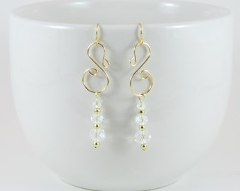 Gold and Crystal Bead Dangle Chandelier Earrings