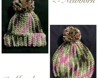 Crochet Baby Hat, 0-12Months, Pink Camo Baby Beanie