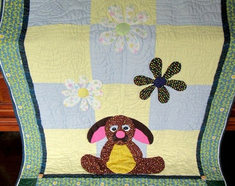 Gender Neutral, Applique Bunny Baby Quilt