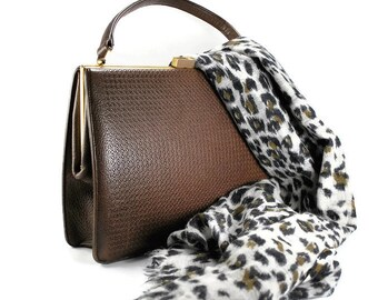 Vintage Paragon Brown Leather Purse, 1960's Textured Leather Handbag