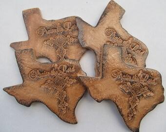 Texas Coasters Tea & Coffee, Ceramic Brown Cross, Southwestern Decor (Set of 4)