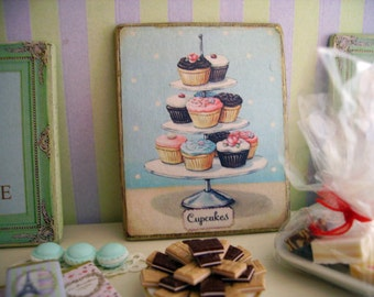 Cupcakes Miniature Wooden Plaque for Dollhouse 1:12 scale