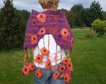 Felted Women  scarf Cobweb Neck accessory