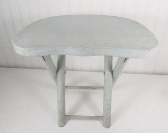 Vintage wood stool, foot stool, step stool, folding stool, blue stool, bench, solid wood, shabby chic