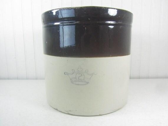 Antique Crock Blue Crown Logo Crown Pottery Crown Brand