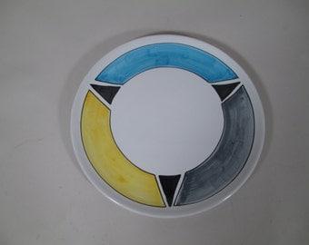 Vintage Mid Century Geometric Italian Raymor Italy Ceramic Pottery Tray Platter