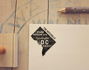 Washington DC Return Address State Stamp - Personalized Rubber Stamp