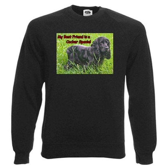 Black Cocker Spaniel Sweatshirt. Fleecy Lined Ribbed Cuffs and Neck, Choice of Sizes and colours