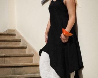 Double linen dress Summer linen dress Black and White linen dress