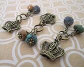Assorted Handmade Gemstone Charms - Ready Made Jewelry Parts - Brass Crown Charm - Boho Hippy Jewelry Parts