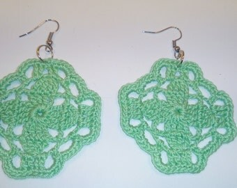 crochet earrings green square