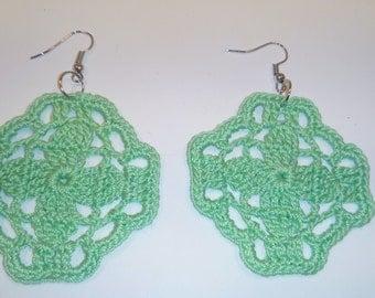 crochet earrings green square