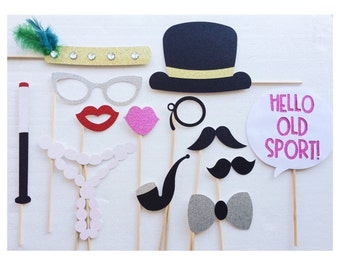 Great Gatsby Photo Booth Props - 1920s - Roaring 20s Birthday - Wedding Photobooth Props ; Bachelorette Party Props ; Engagement Party