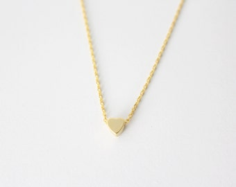 Tiny Gold Heart Necklace - Gold Heart Necklace - Bridesmaid Gift